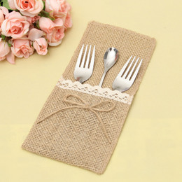 Discount vintage napkin holders - Natural Burlap Silverware Napkin Holders Cutlery Pouch for Vintage Wedding Decor Bridal Shower Party Table QW9806