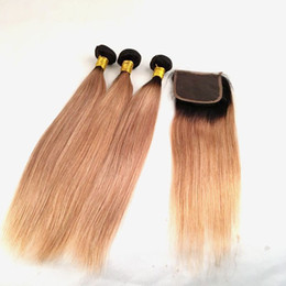 $enCountryForm.capitalKeyWord UK - Mink Virgin Brazilian Hair Weaves With Lace Closure Ombre 1B 27 Bundles Straight Body Wave Ombre Human Hair Extensions