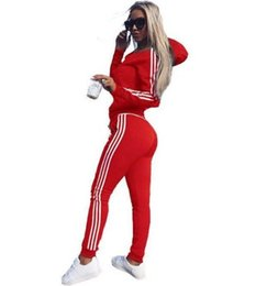 Yoga Pants Jacket UK - Women's Tracksuits Tommy Fashion Sweater Pullover Hoodie Sports Suit 2 Piece Sweatshirt Pants Suit Jacket Solid Color Sportswear Wholesale