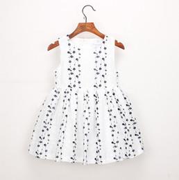 b0aef3484 2019 Nuevos niños vestidos de verano floral bordado encaje tul chaleco vestido  niños cuello redondo princesa algodón vestido rosa azul F4881