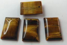 Pendant Rectangle Stone Australia - 25x35mm Natural Yellow TIGER EYE DROP Plugs Gauges Body Jewelry Rectangle ablong tiger eye stone pendant