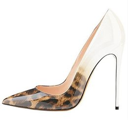 white leopard print high heels 2019 - 2019 Free shipping fashion women's point toe leopard patent leather high heels thin heels shoes pumps boots genuine
