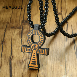 Men Pendant Coin Australia - ankh pendant Meaeguet Carving Ancient Egypt Ankh Pendant Necklace For Men Amulet With 8mm Wood Beads Chain Length -90CM