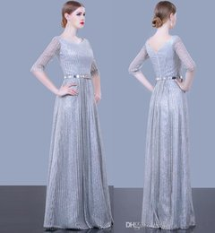 Grey sequin red carpet dress online shopping - silver grey sequin tulle half sleeves A line evening dresses new Pakistan sexy dresses evening wear sweep train evening gowns