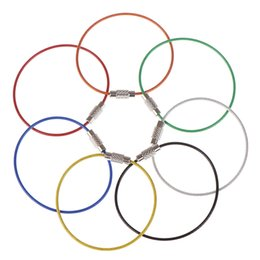 $enCountryForm.capitalKeyWord Australia - 5pcs Baking Paint Stainless Steel Wire Keychain Cable Rope Keyring Colorful Colors Key Chain Rings Holder