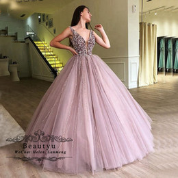 43d6bfbc151 Ball Gown Quinceanera Dresses 2019 V Neck Luxury Beading Blush Pink Tulle  Masquerade Long Party Prom Dress Vestidos de 15 Custom Made