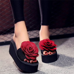 shoes outside NZ - Fashion Open Toe Women Slip-on Open Toe Flower Wedges Color High Slipper Shoes Outside Sexy Party Flower Slides For Women 5