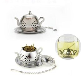stainless teapot infuser wholesale Canada - 100pc Teapot Pot Shape Stainless Steel Leaf Tea Infuser Filter Strainer Ball Spoon free shipping