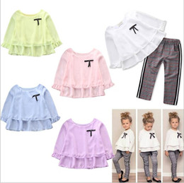 Discount girls ruffle pant suits - Girls Clothes Baby Spring Suits Kids T Shirt Pants Clothing Sets Ruffle Tops Pants Outfits Child Long Sleeve Shirt Plaid