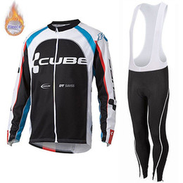 Cube jersey bib online shopping - 2019 Best seller CUBE team Cycling winter thermal Fleece long Sleeves jersey sets bike maillot ciclismo mtb bicycle clothes Bib Pants suit