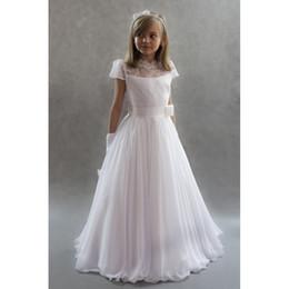 White Communion Dresses Short Australia - 2019 Hot Sale Charming Girls Holy Communion Gowns Ivory Chiffon High Neck Lace Bodice Short Sleeve Long Holy Communion Dresses