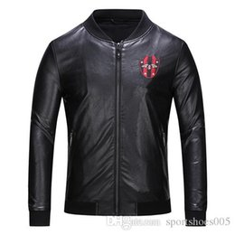 Wholesale Hot sale Brand Fashion Designer Classic Luxury embroidered bee black leather jacket Winter Jacket Designer black Mens Jacket size M XL