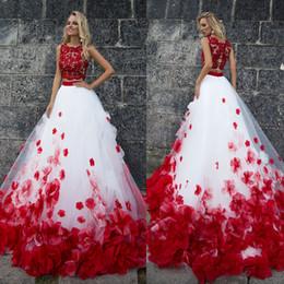 $enCountryForm.capitalKeyWord NZ - 3d Flower Bohemia White Red Lace Tank Wedding Dresses Beach Two Pieces Beach Wedding Gowns Vestido De Noiva Buttom Romantic Y19072901