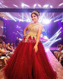 $enCountryForm.capitalKeyWord NZ - Beading Red Quinceanera Dresses Crystal Sparkly Ball Gown Crew Neck Sleeveless Floor Length Party Prom Gowns Stylish vestidos de Luxury Chic