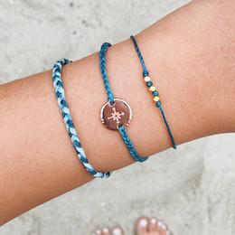 Wear Bracelet Australia - Retro Female Bracelets Compass Letter Beaded Leather Braided Bracelet Set Women Simple Beach Party Jewelry Wear