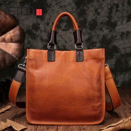 $enCountryForm.capitalKeyWord Australia - AETOO Leather handbags new square tote bag handmade soft leather diagonal bag female retro portable briefcase