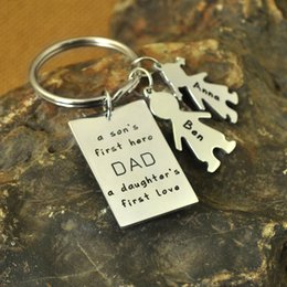 Cartoon Stamping Australia - Custom Hand Stamped Keychain A Daughters First Love Father's Day Gift Custom Keychain for Dad
