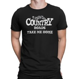 China Mens T-Shirt COUNTRY ROADS TAKE ME HOME Cowboy Guitar Western Folk Music Novelty supplier guitar green suppliers