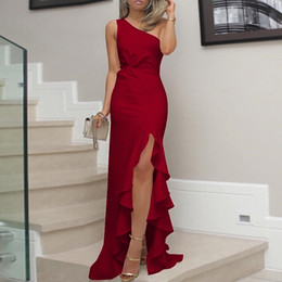 solid color one shoulder dress 2019 - Womens One Shoulder Dress Ruched Ruffle Formal Dress Slit Solid Color Maxi dresses woman party night bandage dresses Dro