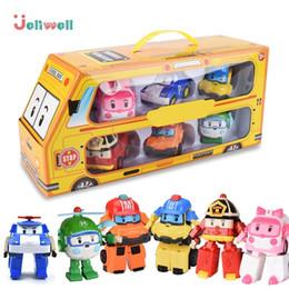 Discount poli car toys - Set Of 6 Pcs Poli Car Kids Robot Toy Transform Vehicle Cartoon Anime Action Figure Toys For Children Gift Juguetes J1905