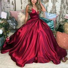 $enCountryForm.capitalKeyWord UK - Wine Red Prom Dresses with Pockets Long Evening Gown Spaghetti Straps Satin Lace Up Back Prom Dress for women Custom Made