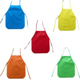 Wholesale Children Waterproof oil proof Cartoon Kitchen Pure Cooking Bib Apron Paint Eat Drink Outerwear0
