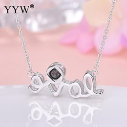 Discount 925 sterling silver letter love necklace - 925 Sterling Silver Alphabet Letter Necklace Custom 100 Languages I Love You Projection Pendant Necklace For Women Weddi