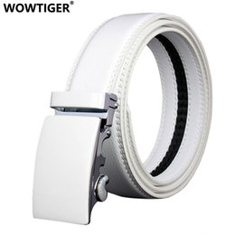 mens wide leather belt Canada - WOWTIGER Mens Fashion Automatic Buckle Leather Luxury Man cinturones hombre Black white Belt Alloy buckle Belts for Men T200615