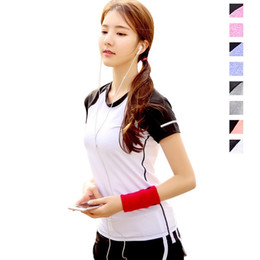 Discount xxxl plus size yoga pants - Plus Size Patchwork Yoga Sport T-shirts Short Sleeves Round Nect Summer T Shirts for Girls Running S M L XL XXL XXXL #23