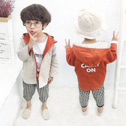 Acrylic Jackets Australia - Boys' trench coat 2019 new jacket children's casual Korean edition reversible jacket