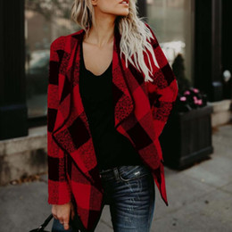 Wholesale red plaid cardigan for sale – plus size Women Irregular Plaid Cardigan Loose Sweater Jacket Coat Tops Cardigan Loose Sweater Outwear Long Sleeve Jacket Coat