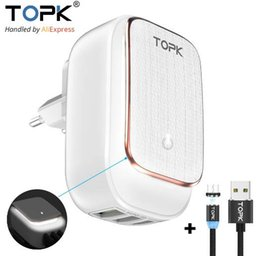 Custom Autos Australia - TOPK Multi-Port USB Charger LED Lamp Auto-ID Mobile Phone Charger Portable Tarvel EU&US Plug Wall Charger Adapter