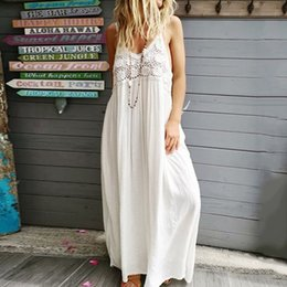 f9461cb85f Boho Sexy Strap Backless Beach Long Dress Women Boho Summer Deep V Sundress  Holiday White Robe Hollow Black Maxi Dresses
