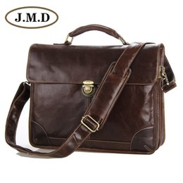 jmd leather bags Australia - J.M.D New Classic Vintage Leather Men's Chocolate Briefcase Laptop Bag Messenger Handbag Hot Selling # Jmd Leather Bags 7091C