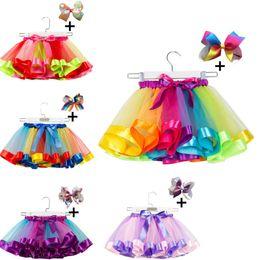$enCountryForm.capitalKeyWord Australia - Children Rainbow color Tutu Dresses New Kids Newborn Lace Princess Skirt Pettiskirt Ruffle Ballet Dancewear Skirt + hair bow 11 color