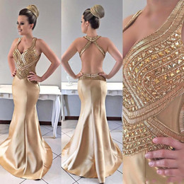 crystal champagne open back prom dress Canada - 2019 New Arrival Gold Evening Dresses Mermaid Elastic Satin Sweetheart Beads Crystal Sleeveless Open Back Plus Size African Prom Party Gowns