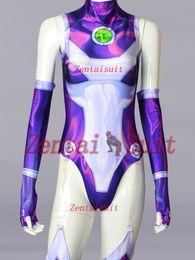 Titan Suit Australia - ew Style Teen Titans Costume Spandex 3D Printing Starfire Superhero Costumes Cosplay Zentai Suit For Girl Female Women New Style Starfir...
