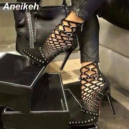 addff1405c32 Aneikeh 2019 Gladiator Roman Sandals Summer Rivet Studded Cut Out Caged  Ankle Boots Stiletto High Heel Women Sexy Shoes Boot
