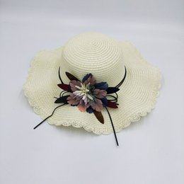 Flower Spring Top Australia - 2019 spring and summer new parent-child ladies hat flower big eave sun protection beach hat cupola leisure sunscreen straw hat