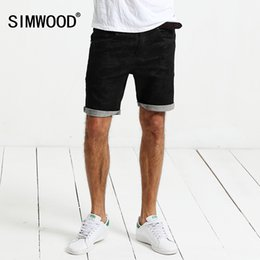 simwood clothing 2019 - SIMWOOD 2017 Summer Jeans Shorts Men Denim Washed Knee Length Fashion Black Special Print Cotton Linen Brand Clothing ND