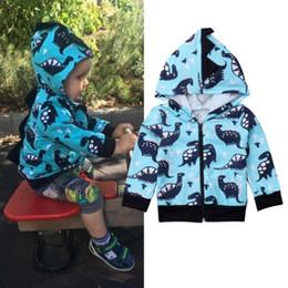 Boys Dinosaur Jacket Australia - 2019 Brand New 1-6Y Toddler Baby Boys Hoodies Coat Outwear Cartoon Dinosaur Long Sleeve Hooded Zipper Jacket Autumn Clothes