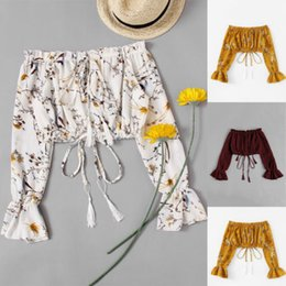 Cropped Tees Australia - Summer Fashion Women T-shirt Lace up Bandage Tees Off Shoulder Casual Top Long Sleeve T-Shirts Crop Tops Clubwear New Streetwear