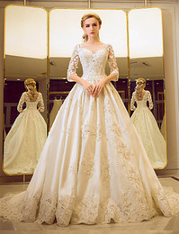 $enCountryForm.capitalKeyWord Australia - Noble wedding dresses beautiful long tail skirts new style pearls crystal print lace modern beautiful wedding dress De Mariee Plus