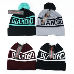 Pom Beanie Hats For Men Australia - America Popular Diamond Supply Co Beanie Knitted Hat Winter Spring Wool Warm Pom Pom Letter Beanies for Men Women Wholesale Price