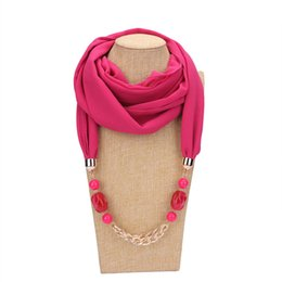 Chinese  Fashion Satement Chiffon Geometry Beads Chain Pendant Scarf Necklace for Women New Boho Ethnic Scarves Collar Jewelry manufacturers