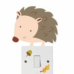 Playroom Art Australia - Colorful Woodland Hedgehog Switch Wall Stickers Children's Bedroom Playroom Funny Art Decal Self Adhesive Wallpaper Home Decor