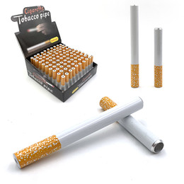 Snuff boxeS online shopping - Cigarette Shape One Hitter Bat metal Dugout Aluminium Alloy Smoking Pipes Box mm mm Length Tobacco Pipes Snuff Snorter