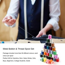 Wholesale 60pcs set Mixed Colors Sewing Thread Set Metal Bobbins Thread Spools For Household Electric Sewing Machines