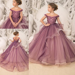 a08ac2ff7a147 Royal pRincess gowns kids online shopping - Light Grape Flower Girl Dresses  Lace Appliques Beads Tulle