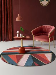 chair room NZ - Nordic Round Carpet Geometric Area Rugs Polychrome Carpet for Living Room Modern Minimalism Game Chair Pad Polyester Carpets